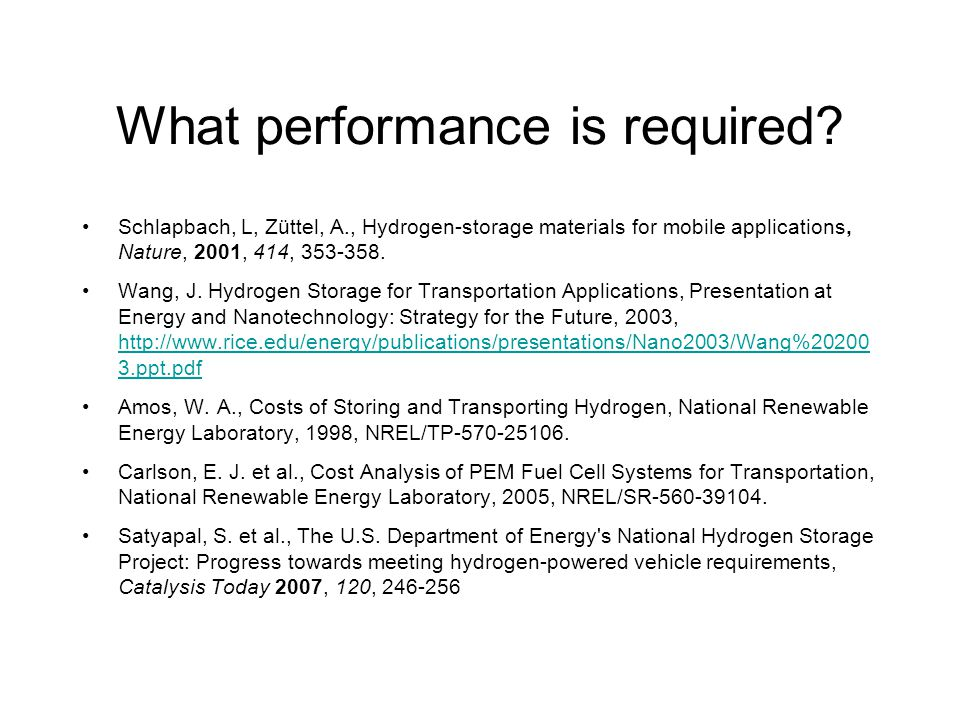 What performance is required.