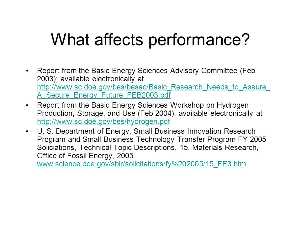 What affects performance.