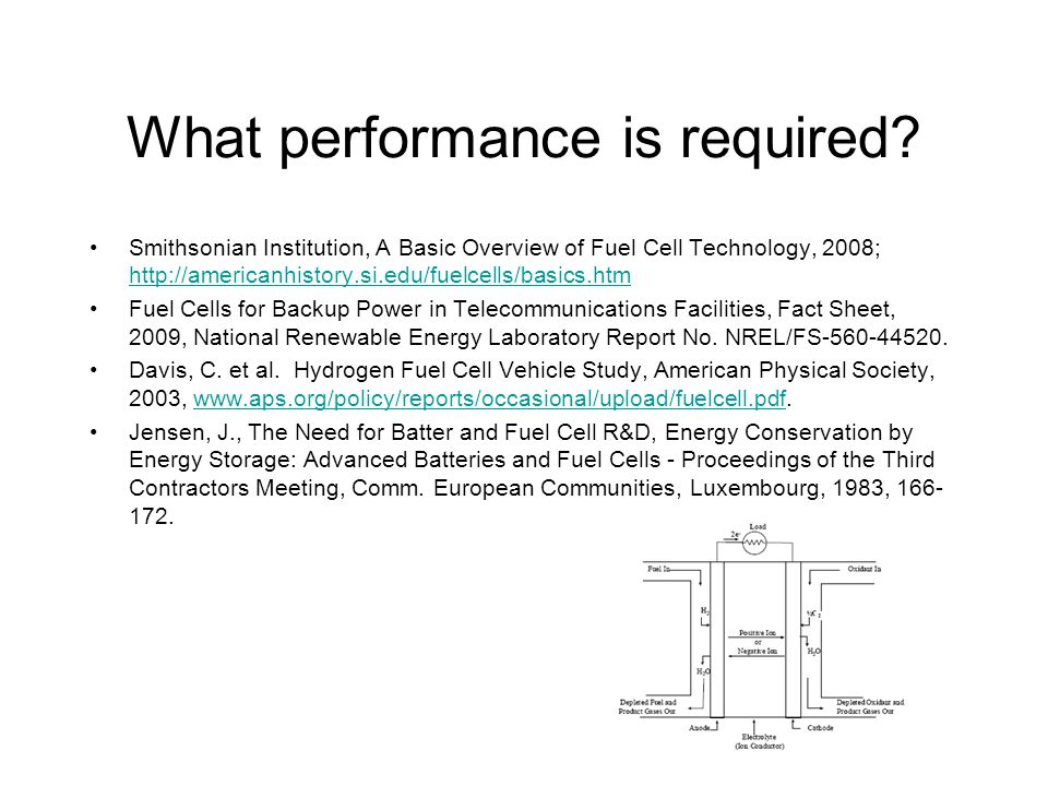 What performance is required? Smithsonian Institution, A Basic Overview of Fuel Cell Technology, 2008; http://americanhistory.si.edu/fuelcells/basics.