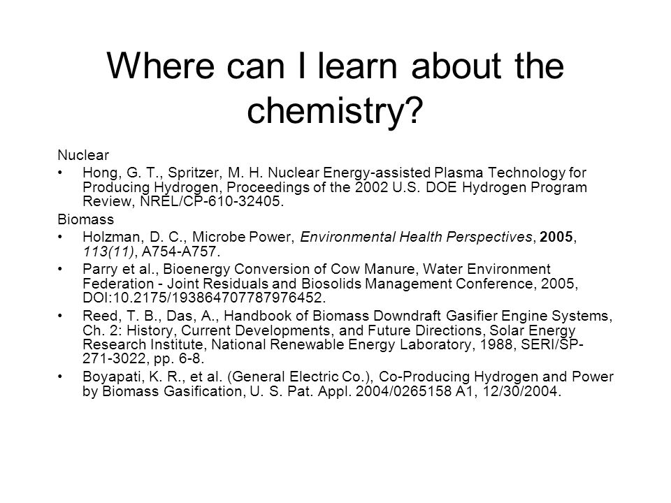 Where can I learn about the chemistry.