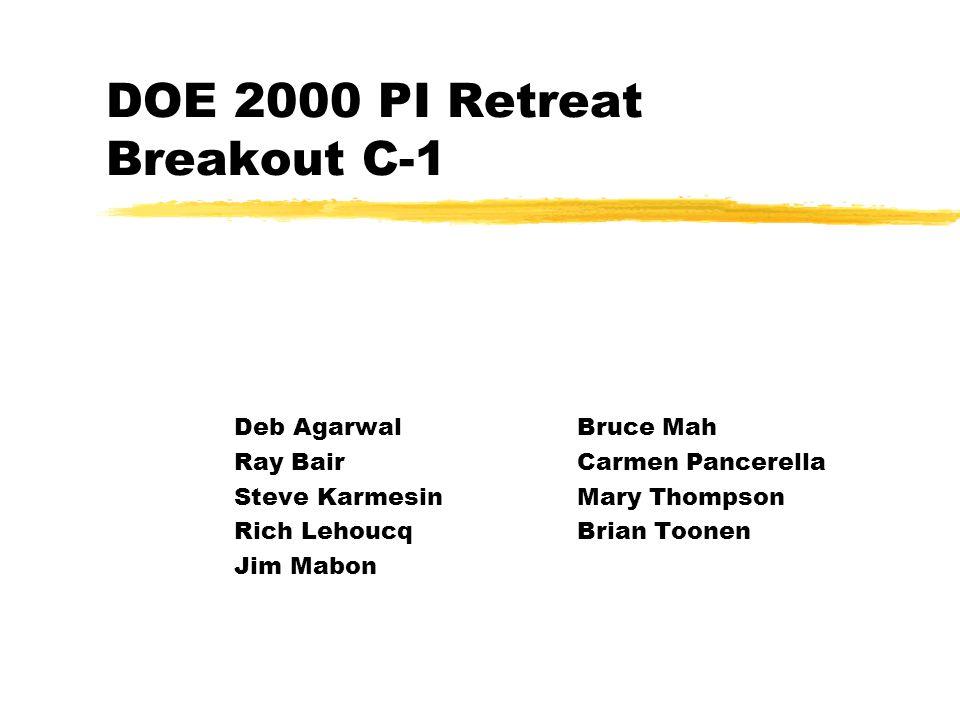 DOE 2000 PI Retreat Breakout C-1 Deb AgarwalBruce Mah Ray BairCarmen Pancerella Steve KarmesinMary Thompson Rich LehoucqBrian Toonen Jim Mabon