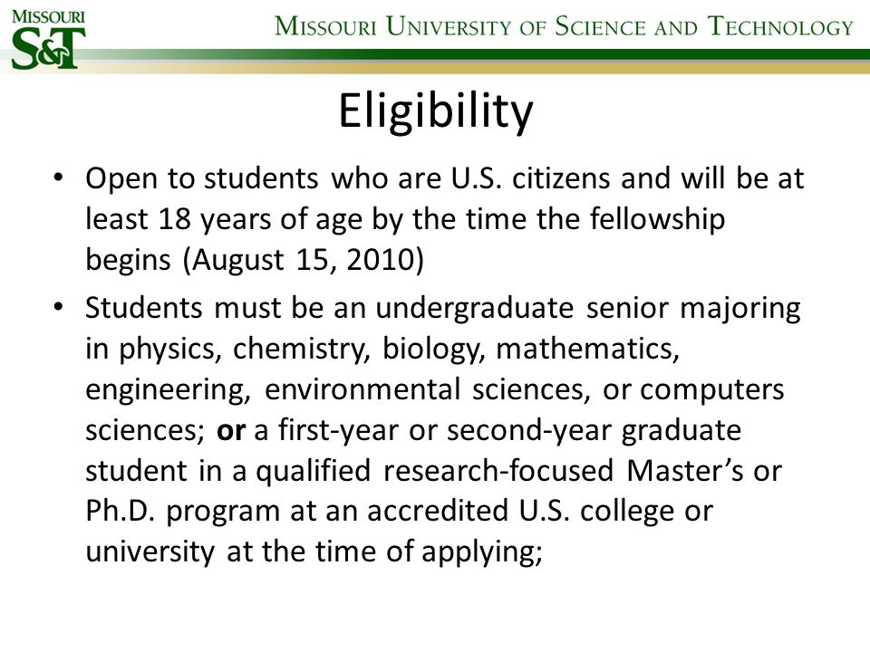 Eligibility Open to students who are U.S.