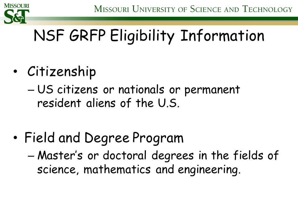 Qualified Graduate Degree Program The Master's or Ph.D.