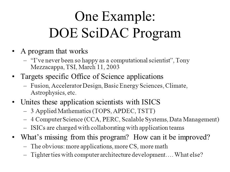 "One Example: DOE SciDAC Program A program that works –""I've never been so happy as a computational scientist"", Tony Mezzacappa, TSI, March 11, 2003 Ta"