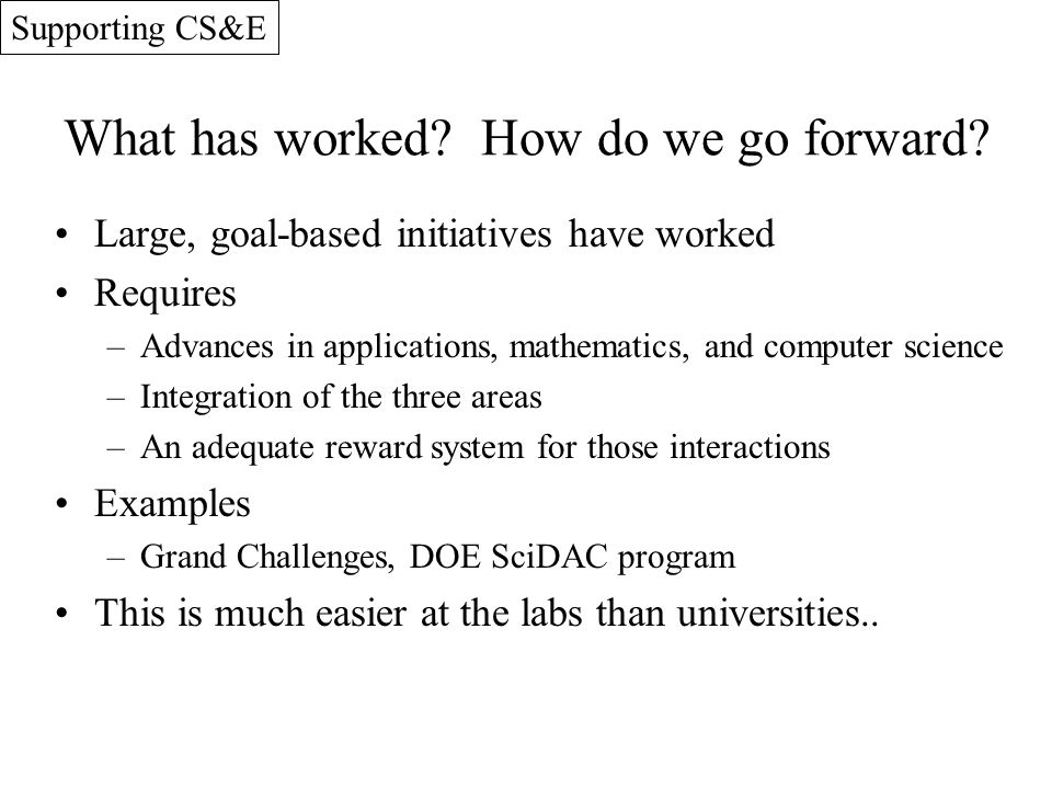 What has worked? How do we go forward? Large, goal-based initiatives have worked Requires –Advances in applications, mathematics, and computer science