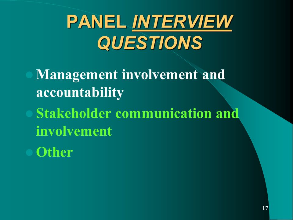 17 PANEL INTERVIEW QUESTIONS Management involvement and accountability Stakeholder communication and involvement Other