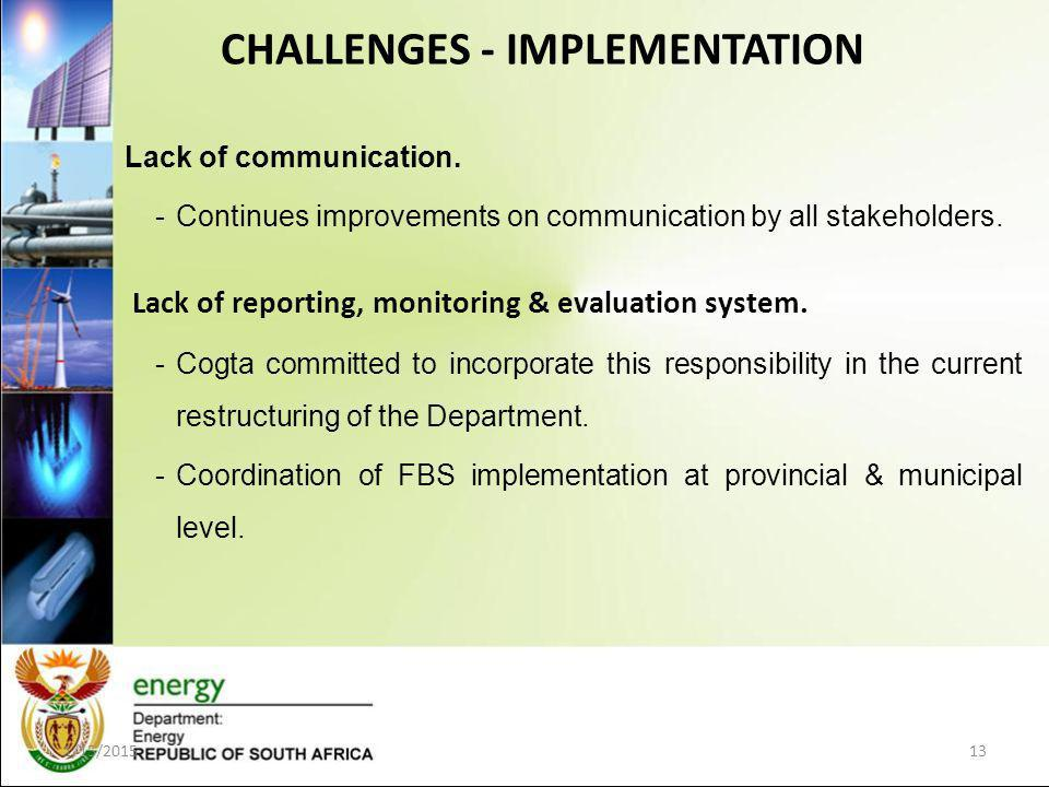 Lack of communication. -Continues improvements on communication by all stakeholders.
