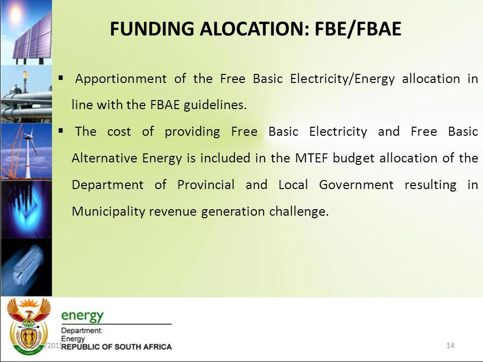 FUNDING ALOCATION: FBE/FBAE 1/15/201514  Apportionment of the Free Basic Electricity/Energy allocation in line with the FBAE guidelines.