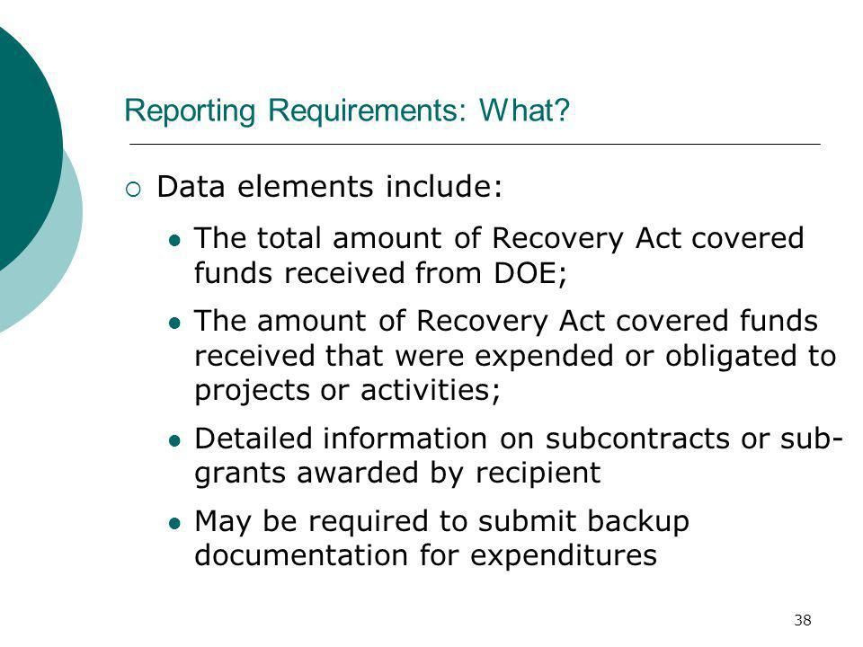 38 Reporting Requirements: What.