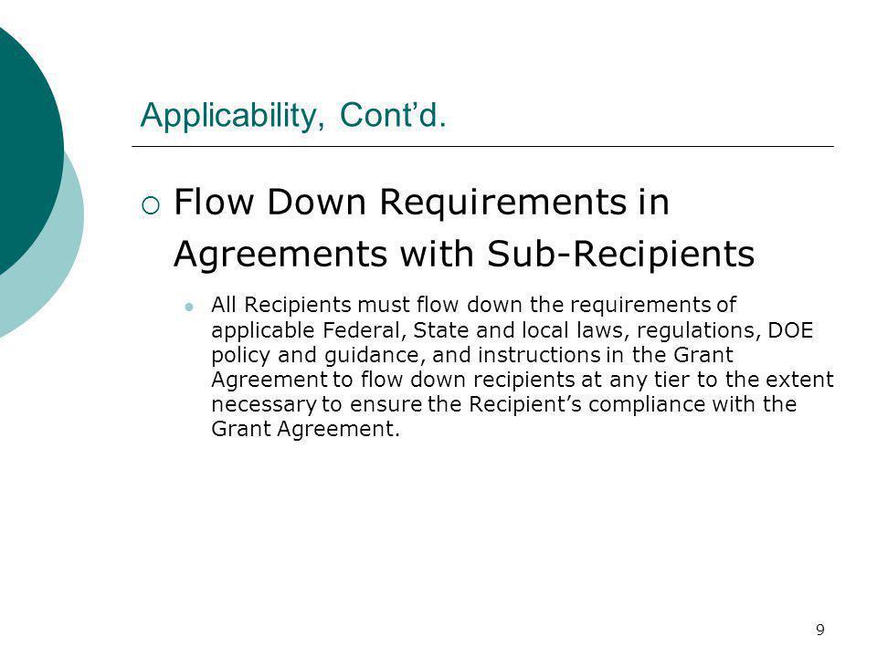 9 Applicability, Cont'd.