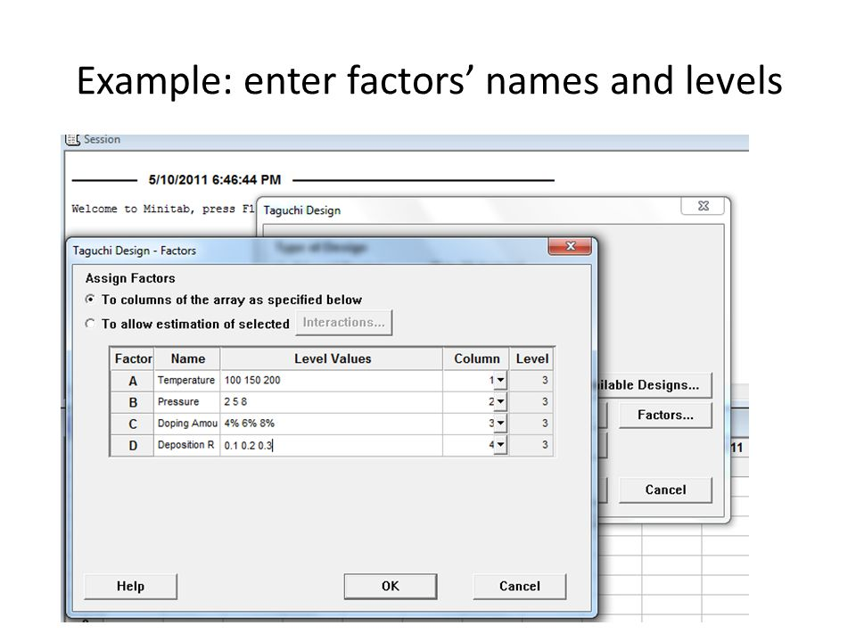 Example: enter factors' names and levels