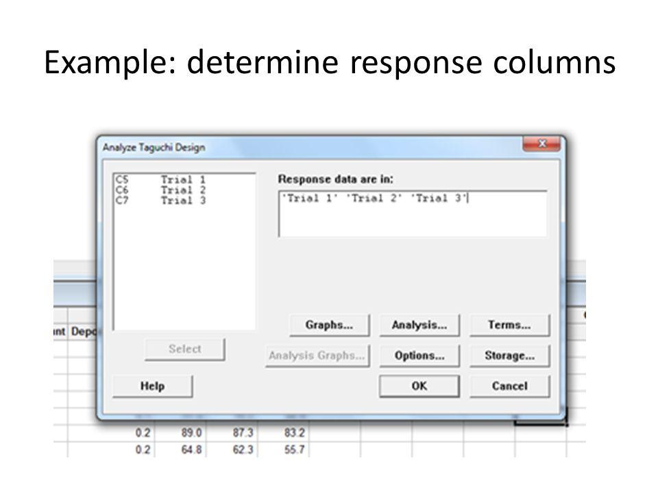 Example: determine response columns