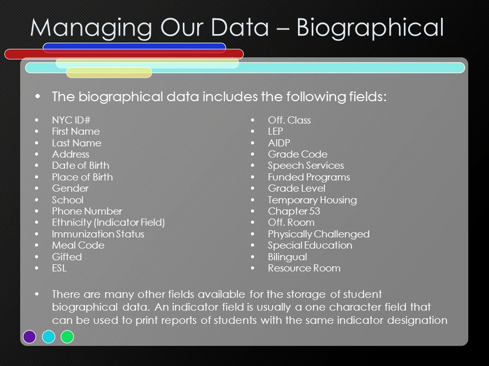 Managing Our Data – Timetable Beginning of Year Reports – ATS ReportDescription ROCLOfficial Class List RMSRExam Report RBIRBiographical Roster RLABLAB Scores Report RCRLCross Reference List ROCROfficial Class Registers RCONEmergency Contact Report RADRAddress Report RHILImmunization Status List RCR1Clearance of Register Report