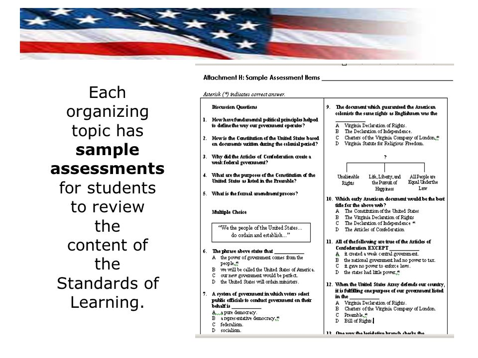 Each organizing topic has sample assessments for students to review the content of the Standards of Learning.
