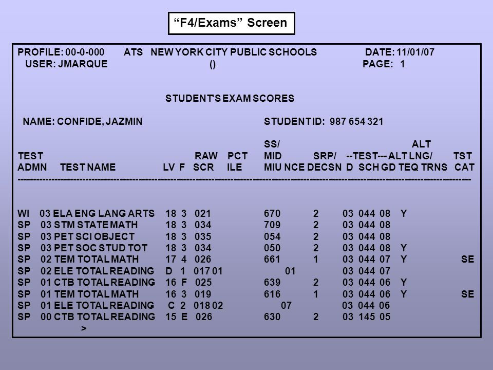PROFILE: 00-0-000 ATS NEW YORK CITY PUBLIC SCHOOLS DATE: 11/01/07 USER: JMARQUE () PAGE: 1 STUDENT'S EXAM SCORES NAME: CONFIDE, JAZMIN STUDENT ID: 987