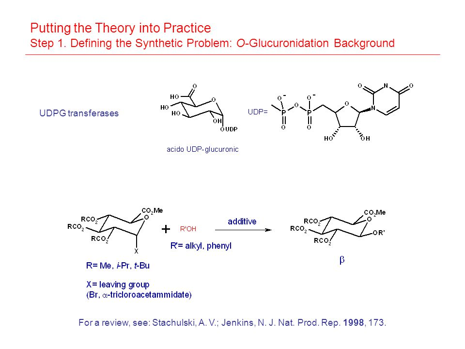 Putting the Theory into Practice Step 1. Defining the Synthetic Problem: O-Glucuronidation Background UDPG transferases For a review, see: Stachulski,