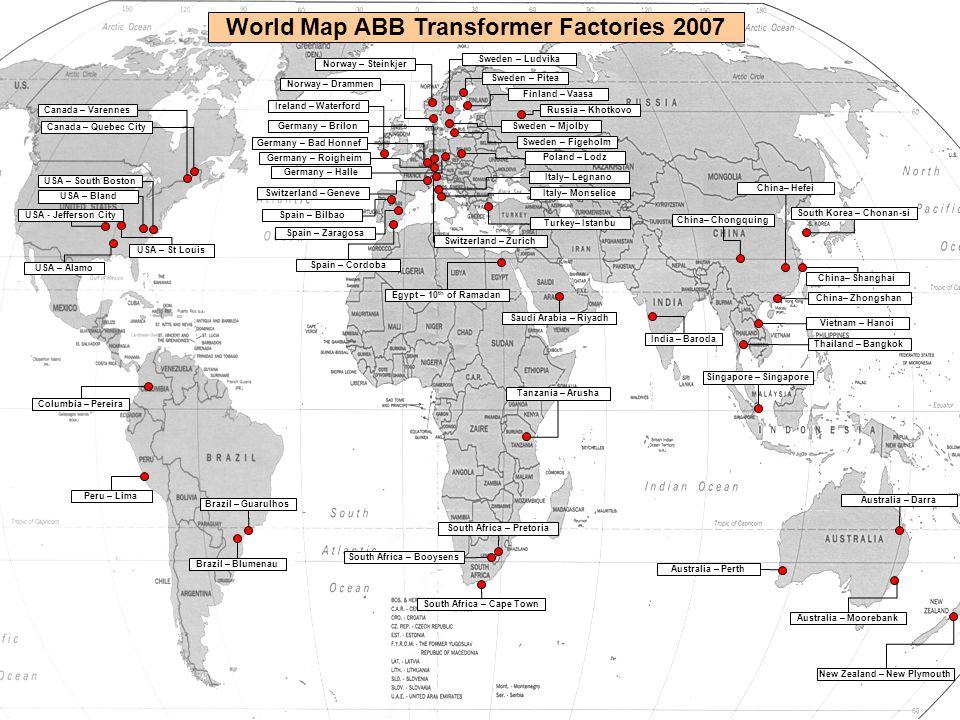 © ABB Group January 15, 2015 | Slide 4 World Map ABB Transformer Factories 2007