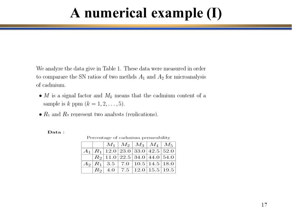 17 A numerical example (I)