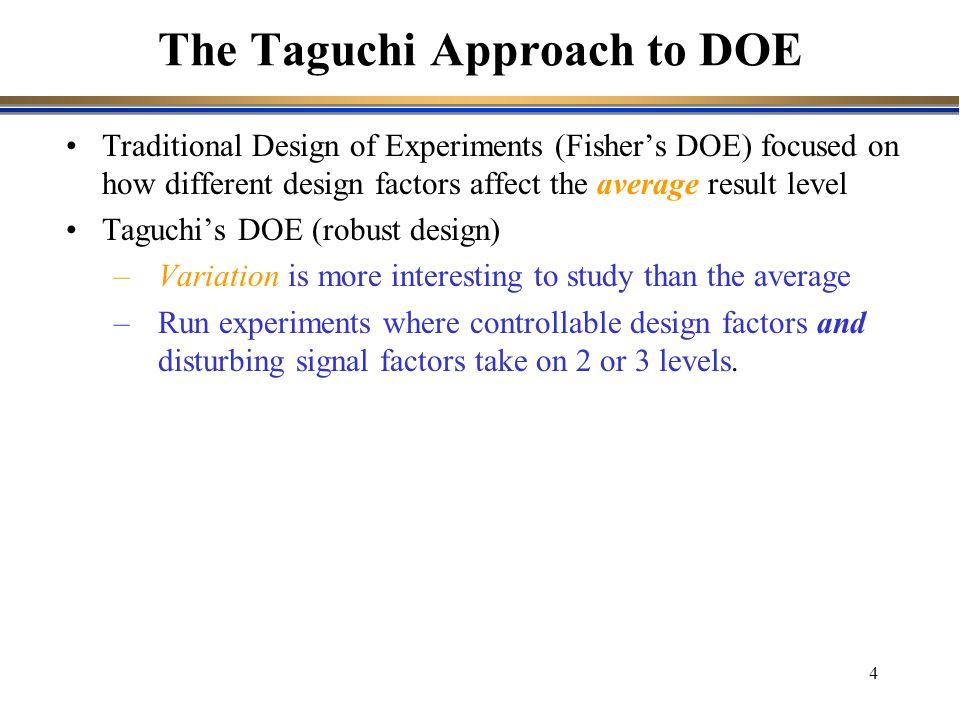 4 Traditional Design of Experiments (Fisher's DOE) focused on how different design factors affect the average result level Taguchi's DOE (robust desig