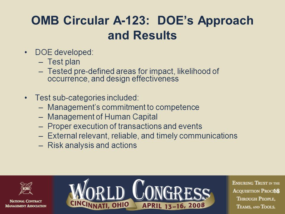 18 OMB Circular A-123: DOE's Approach and Results DOE developed: –Test plan –Tested pre-defined areas for impact, likelihood of occurrence, and design effectiveness Test sub-categories included: –Management's commitment to competence –Management of Human Capital –Proper execution of transactions and events –External relevant, reliable, and timely communications –Risk analysis and actions