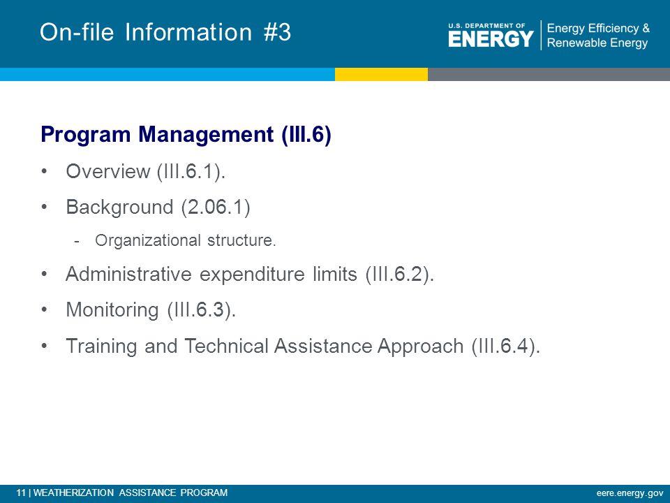 11 | WEATHERIZATION ASSISTANCE PROGRAMeere.energy.gov Program Management (III.6) Overview (III.6.1).