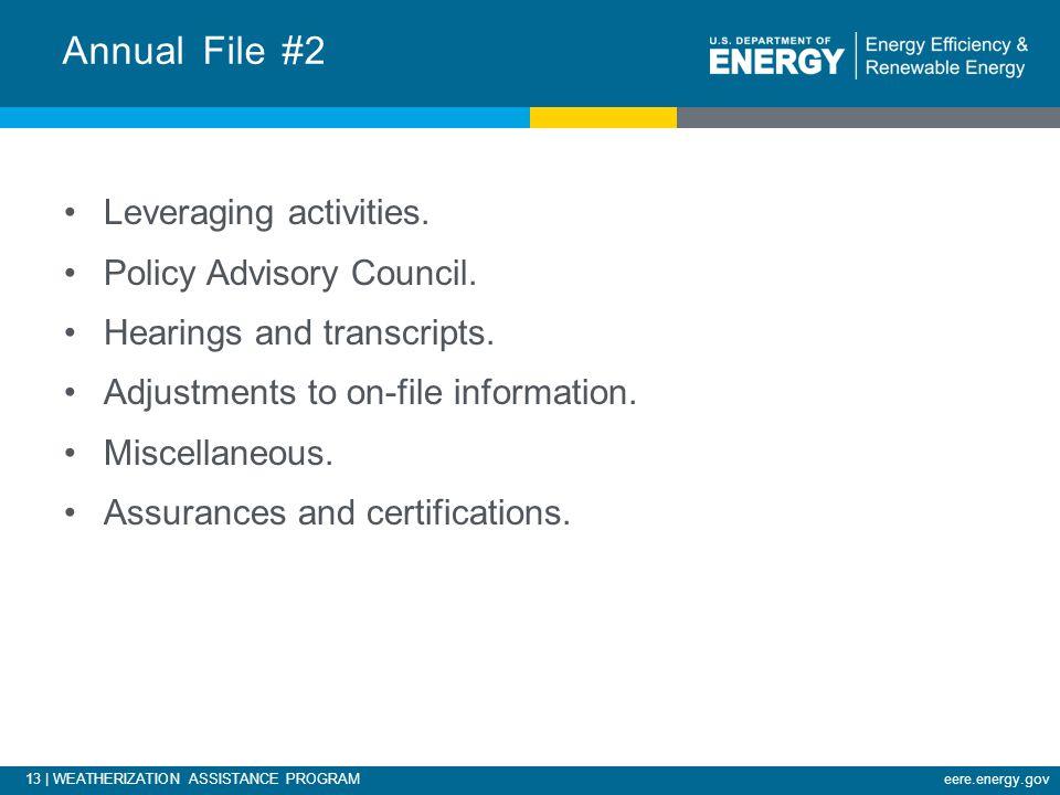 13 | WEATHERIZATION ASSISTANCE PROGRAMeere.energy.gov Leveraging activities.