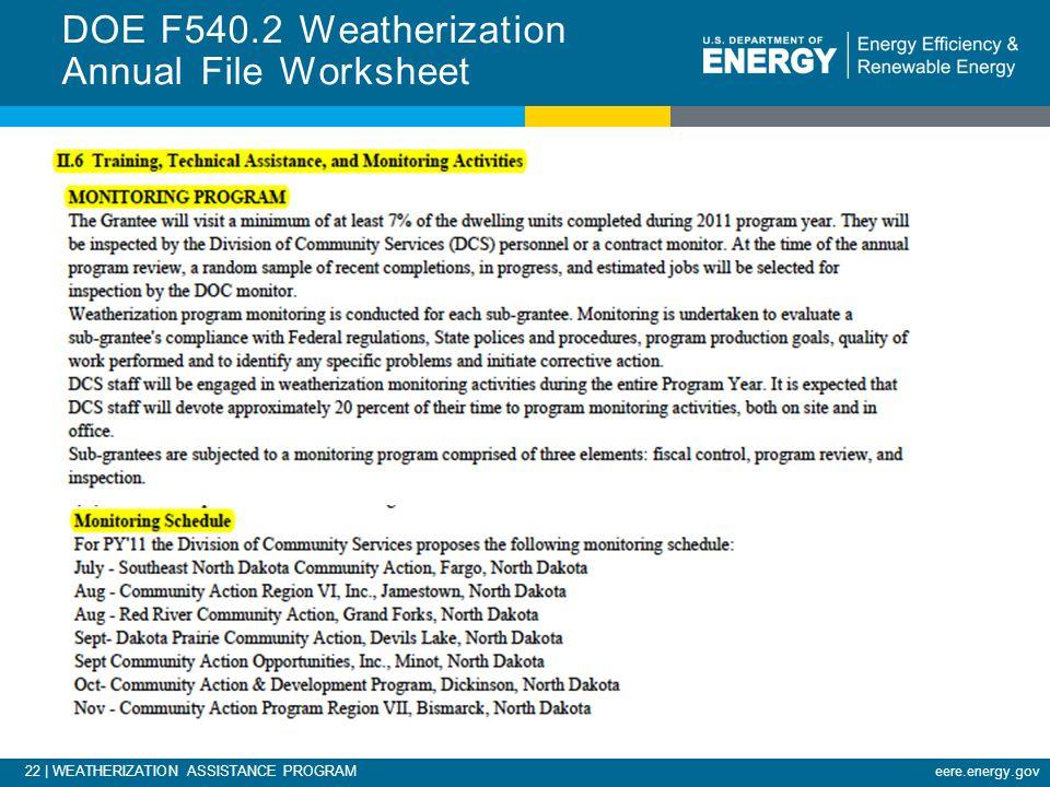 22 | WEATHERIZATION ASSISTANCE PROGRAMeere.energy.gov DOE F540.2 Weatherization Annual File Worksheet