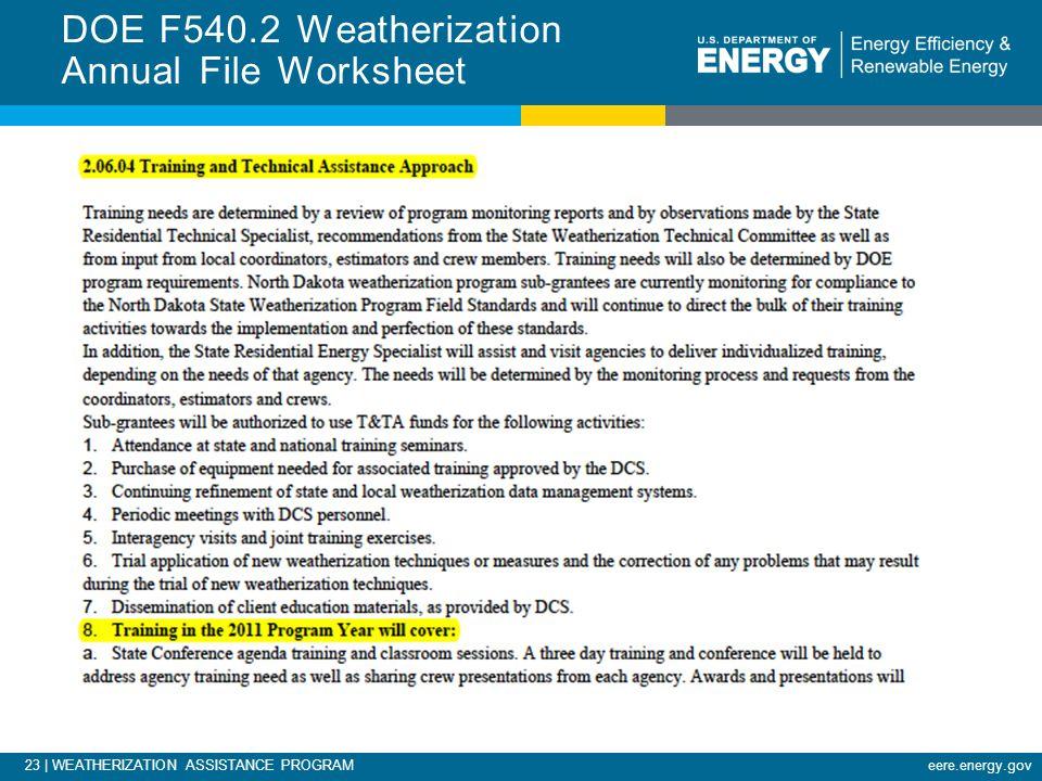 23 | WEATHERIZATION ASSISTANCE PROGRAMeere.energy.gov DOE F540.2 Weatherization Annual File Worksheet