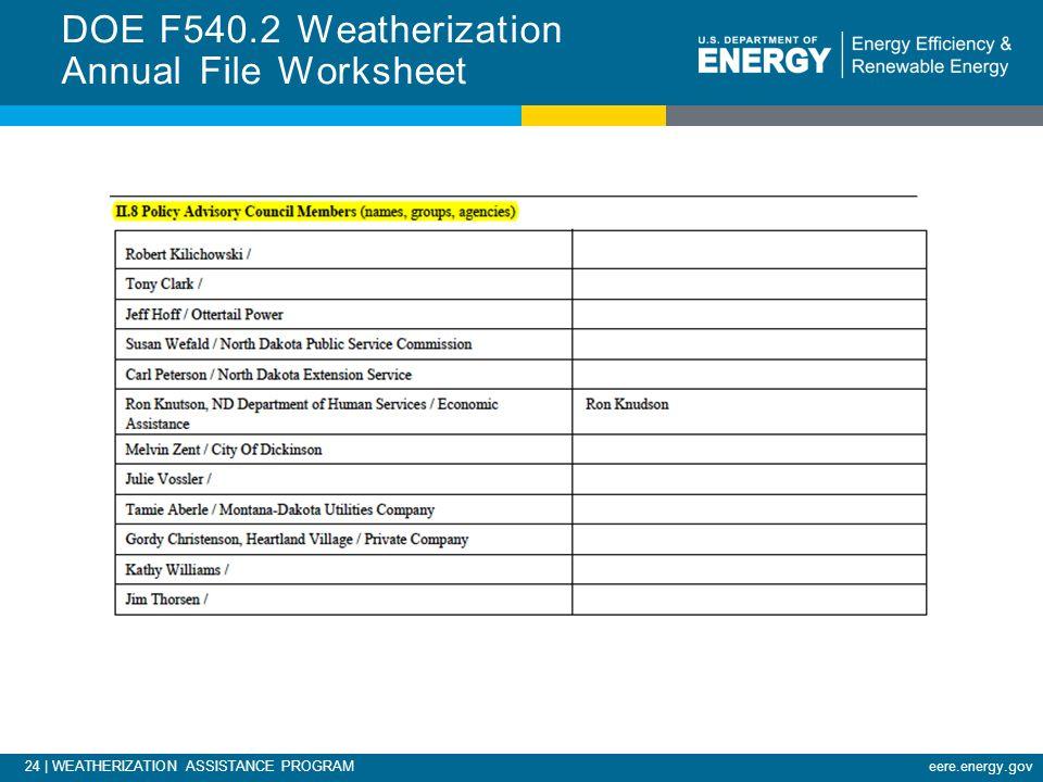 24 | WEATHERIZATION ASSISTANCE PROGRAMeere.energy.gov DOE F540.2 Weatherization Annual File Worksheet