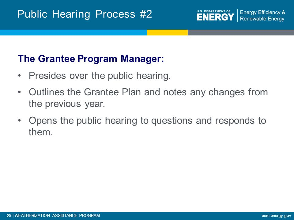 29 | WEATHERIZATION ASSISTANCE PROGRAMeere.energy.gov The Grantee Program Manager: Presides over the public hearing.
