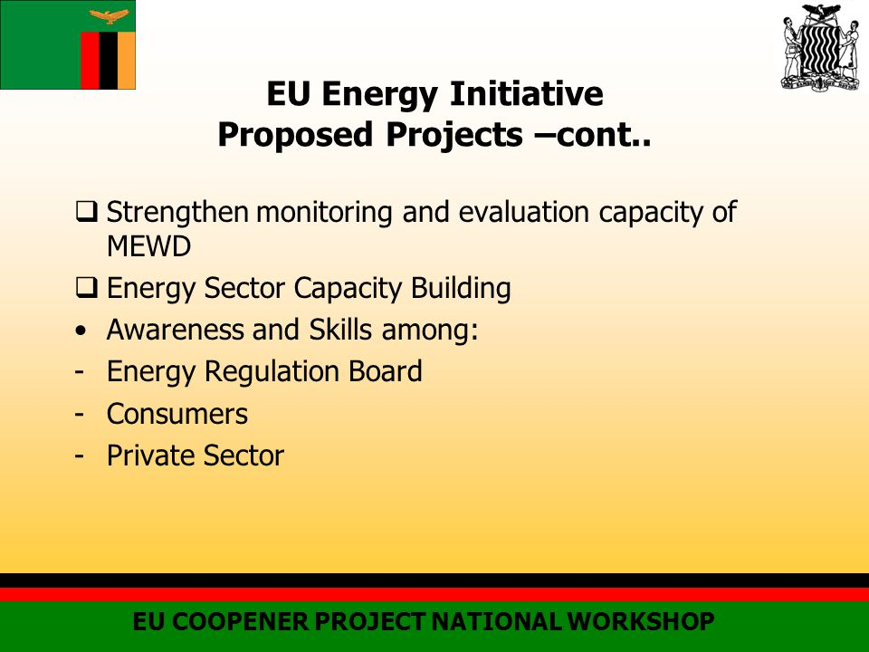 EU Energy Initiative Proposed Projects –cont..
