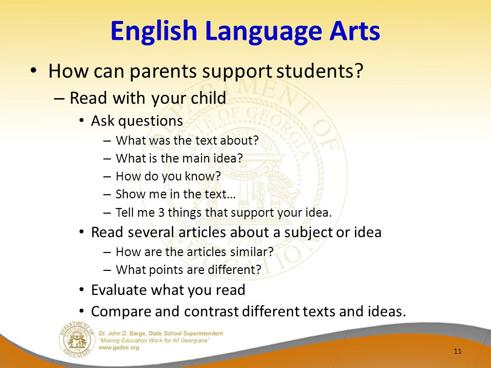 English Language Arts How can parents support students.