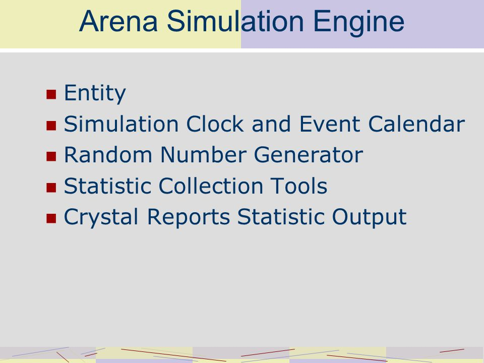 Arena Simulation Engine Entity Simulation Clock and Event Calendar Random Number Generator Statistic Collection Tools Crystal Reports Statistic Output