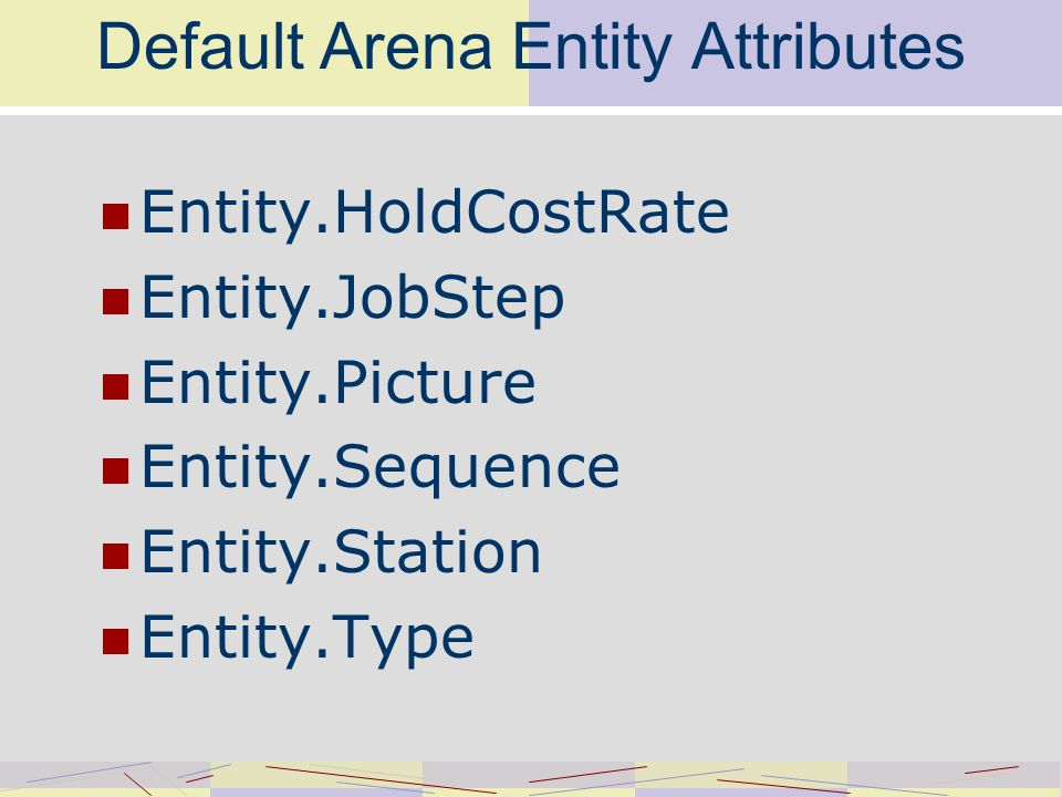 Default Arena Entity Attributes Entity.HoldCostRate Entity.JobStep Entity.Picture Entity.Sequence Entity.Station Entity.Type