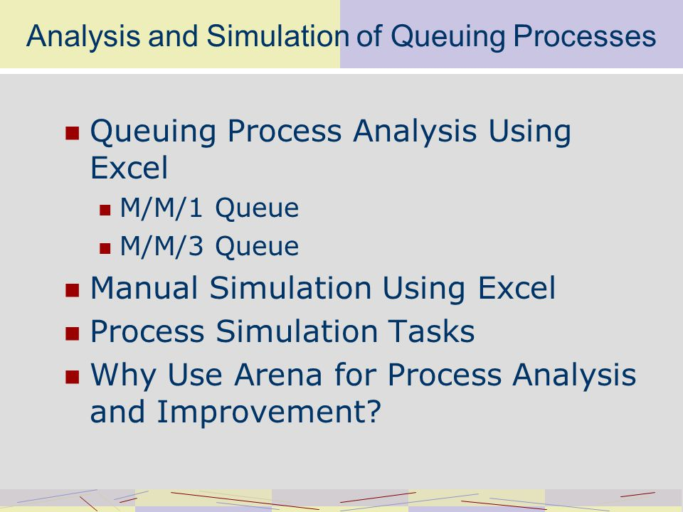 Queuing Process Analysis Using Excel Process BoundaryDefines process limits Arrival SourceSupplies process customers QueueAllows customers to wait for service ServerProvides customer service Exhibit 6-1 p.