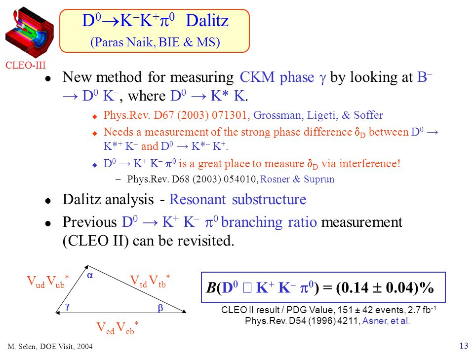 13 M. Selen, DOE Visit, 2004 D 0  K  K +  0 Dalitz (Paras Naik, BIE & MS) CLEO-III New method for measuring CKM phase  by looking at B – → D 0 K –