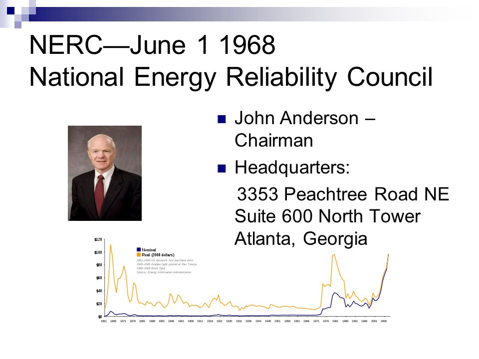 NERC—June 1 1968 National Energy Reliability Council John Anderson – Chairman Headquarters: 3353 Peachtree Road NE Suite 600 North Tower Atlanta, Geor