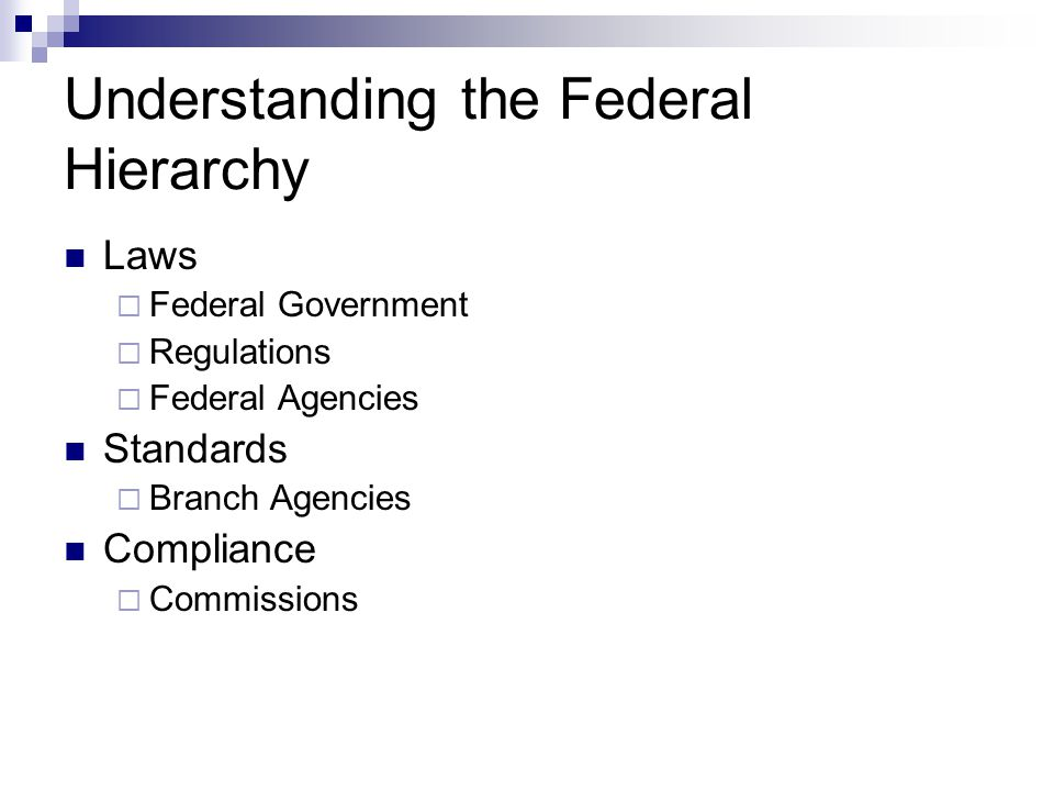 Understanding the Federal Hierarchy Laws  Federal Government  Regulations  Federal Agencies Standards  Branch Agencies Compliance  Commissions