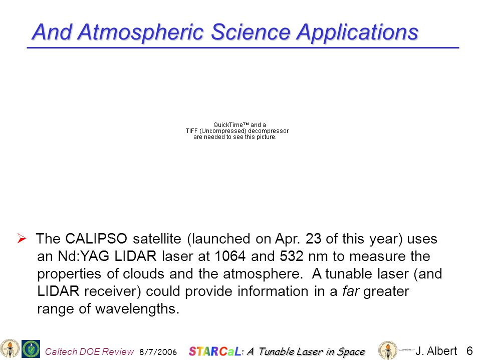 And Atmospheric Science Applications  The CALIPSO satellite (launched on Apr.