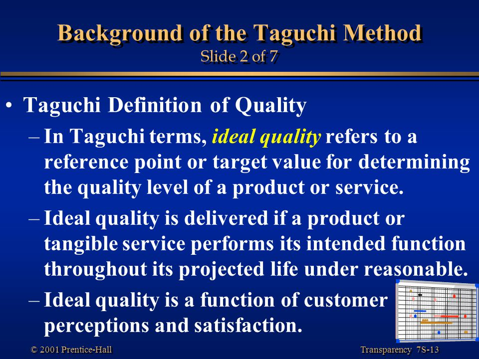 Transparency 7S-13 © 2001 Prentice-Hall Background of the Taguchi Method Slide 2 of 7 Taguchi Definition of Quality –In Taguchi terms, ideal quality refers to a reference point or target value for determining the quality level of a product or service.