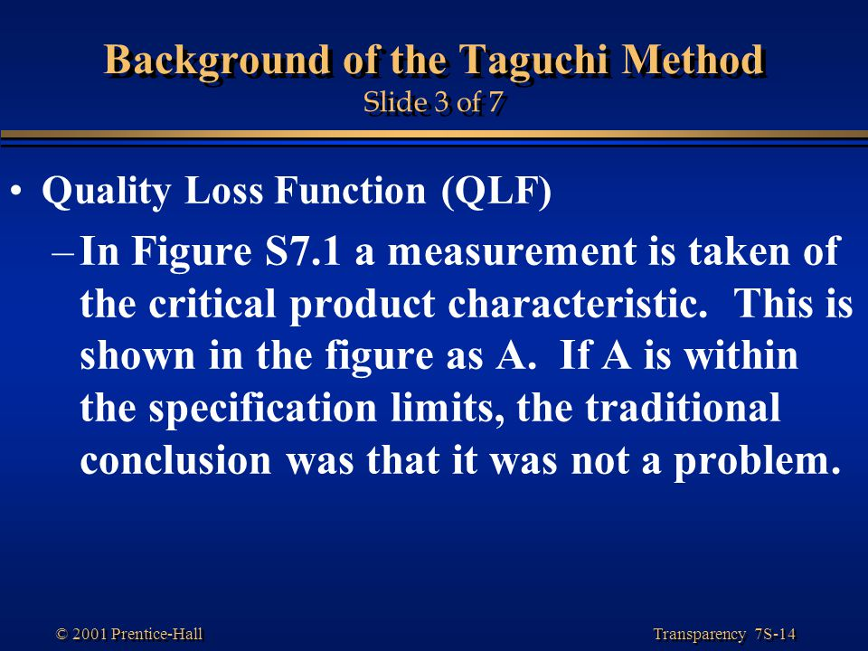 Transparency 7S-14 © 2001 Prentice-Hall Background of the Taguchi Method Slide 3 of 7 Quality Loss Function (QLF) –In Figure S7.1 a measurement is taken of the critical product characteristic.