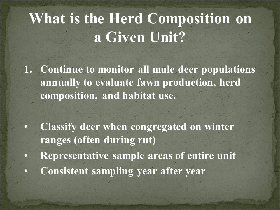 What is the Herd Composition on a Given Unit.