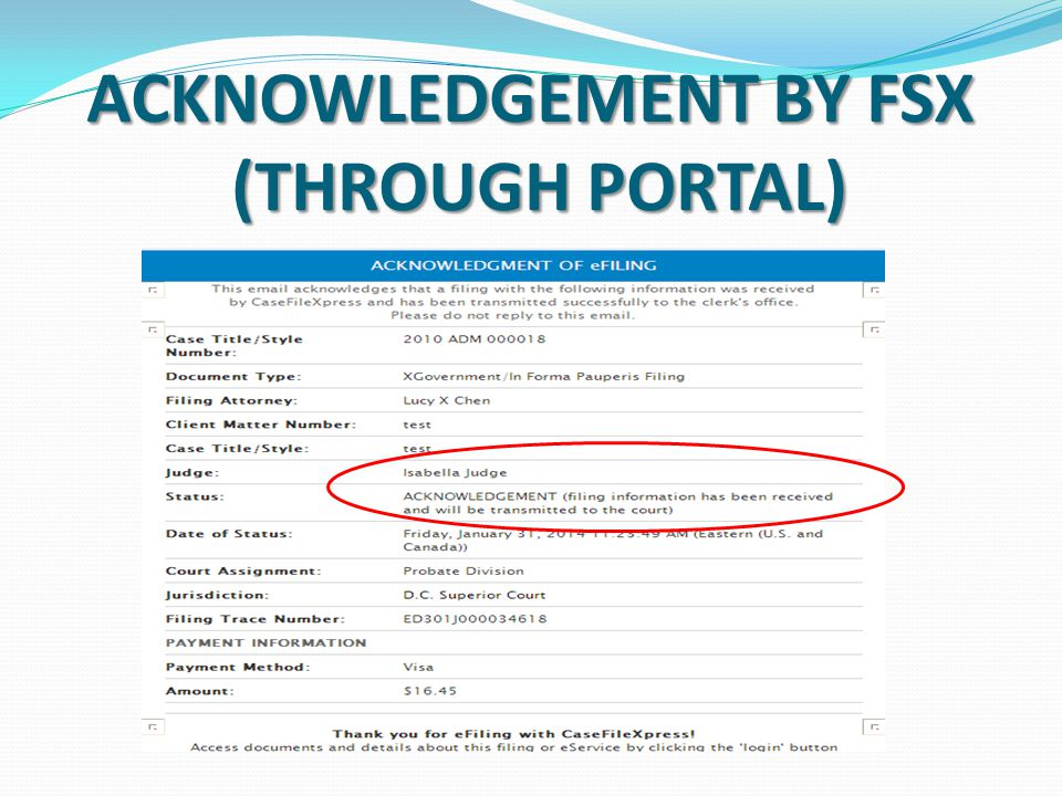 ACKNOWLEDGEMENT BY FSX (THROUGH PORTAL)