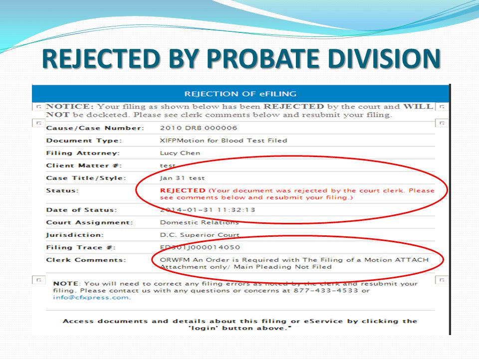 REJECTED BY PROBATE DIVISION