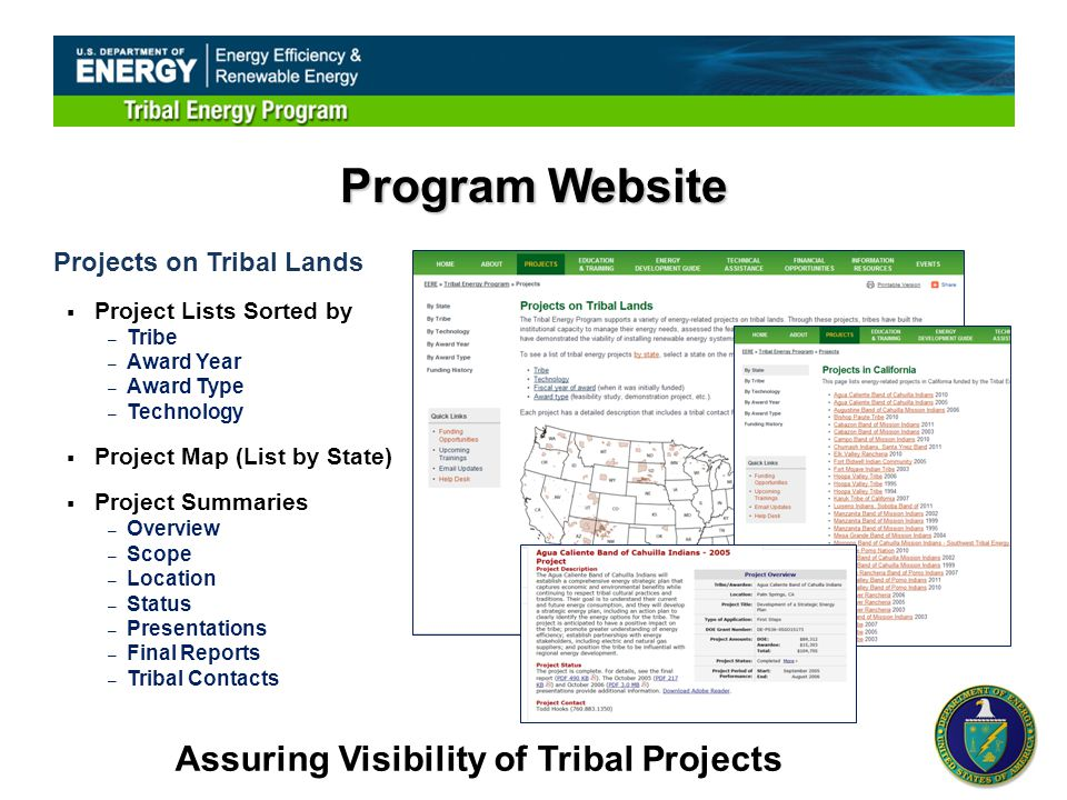 Projects on Tribal Lands  Project Lists Sorted by – Tribe – Award Year – Award Type – Technology  Project Map (List by State)  Project Summaries – Overview – Scope – Location – Status – Presentations – Final Reports – Tribal Contacts Program Website Assuring Visibility of Tribal Projects