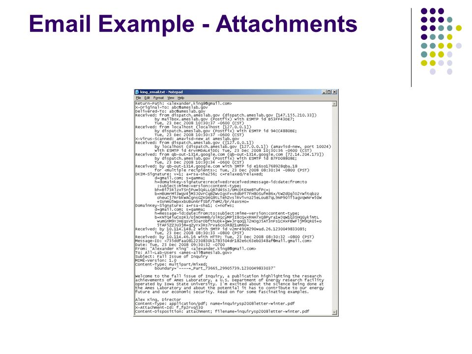 Email Example - Attachments