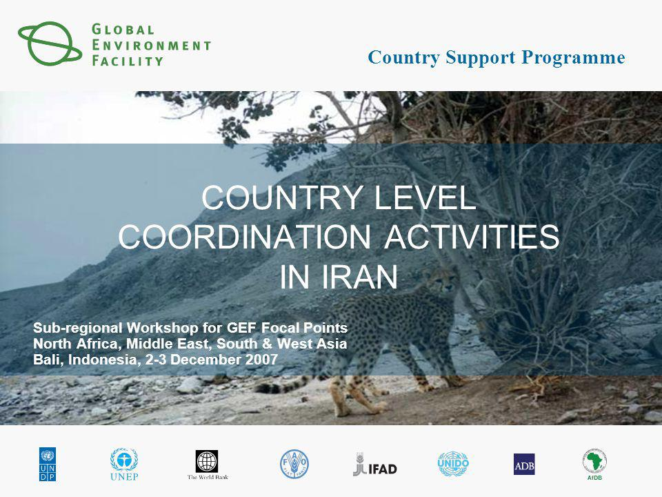 Country Support Programme COUNTRY LEVEL COORDINATION ACTIVITIES IN IRAN Sub-regional Workshop for GEF Focal Points North Africa, Middle East, South & West Asia Bali, Indonesia, 2-3 December 2007