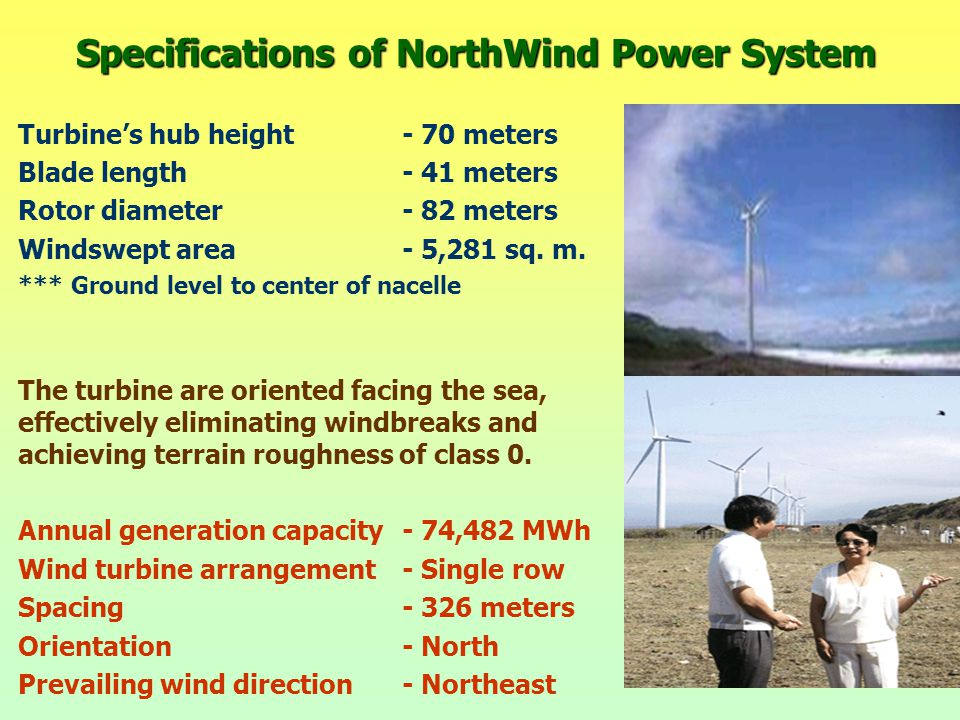 Specifications of NorthWind Power System Turbine's hub height- 70 meters Blade length- 41 meters Rotor diameter- 82 meters Windswept area- 5,281 sq.