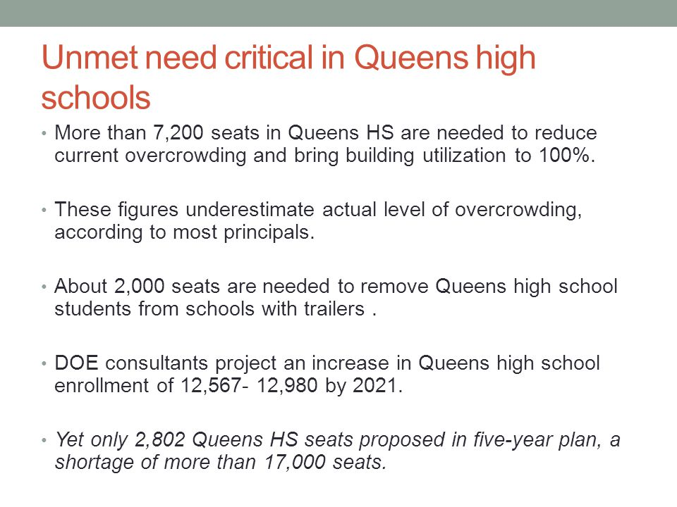 Unmet need critical in Queens high schools More than 7,200 seats in Queens HS are needed to reduce current overcrowding and bring building utilization to 100%.