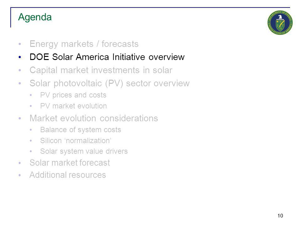 10 Energy markets / forecasts DOE Solar America Initiative overview Capital market investments in solar Solar photovoltaic (PV) sector overview PV prices and costs PV market evolution Market evolution considerations Balance of system costs Silicon 'normalization' Solar system value drivers Solar market forecast Additional resources Agenda